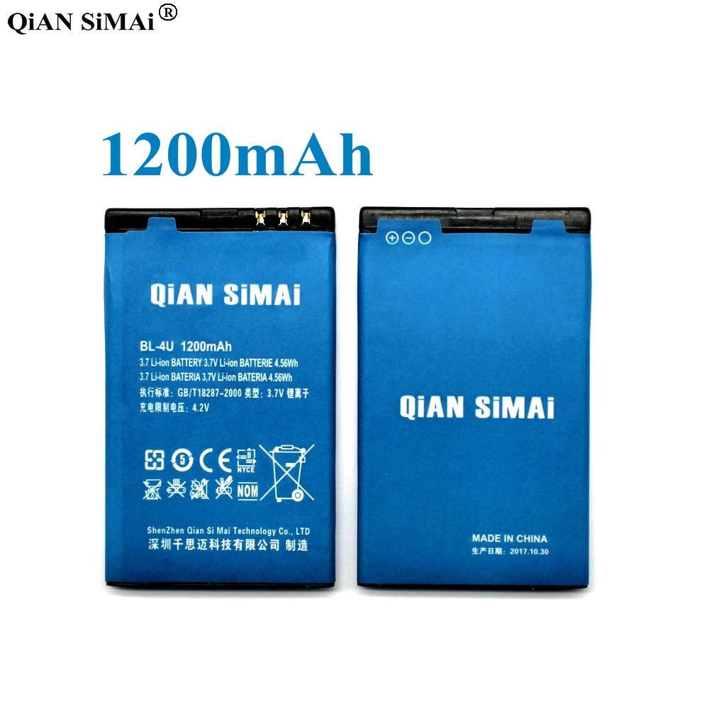 QiAN SiMAi BL-4U 1200mAh Battery For Nokia C5-03 E66 5250 5330XM 5730 E75 3120C 6120C 6300i 6600s/i 8800a/s/c/g N500 X7 6212C
