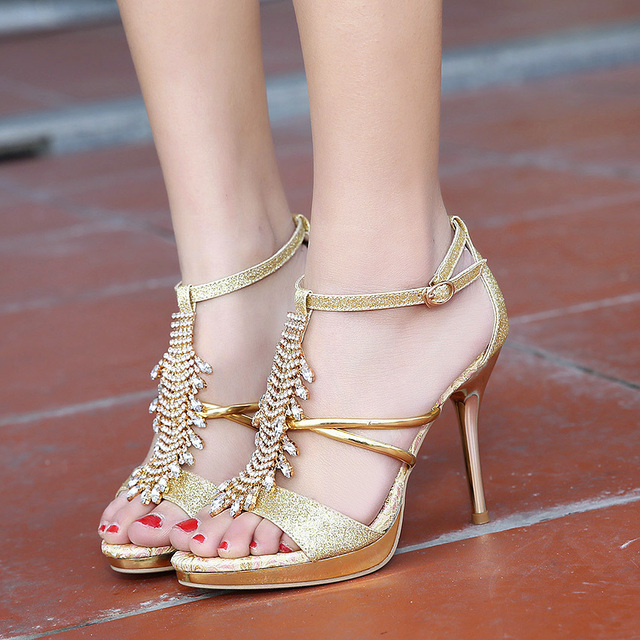 7226977ab90d Glitter Crystal T strap gladiator sandals women sexy high heel wedding shoes  gold prom dress shoes