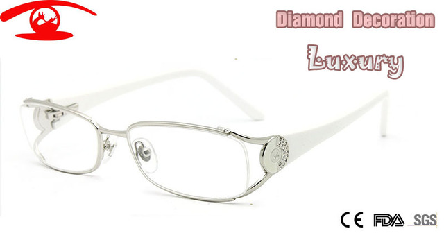 Novo Diamante Moda Marca Designer Eye Glasses Frames para Mulheres Mulheres De Luxo Frame Ótico Prescrição oculos de grau Feminino