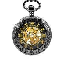 Lupa de Múltiples Funciones de Acero de tungsteno Negro Clamshell Retro Romano Reloj de Bolsillo Mecánico Masculino Señoras Tabla Estudiante