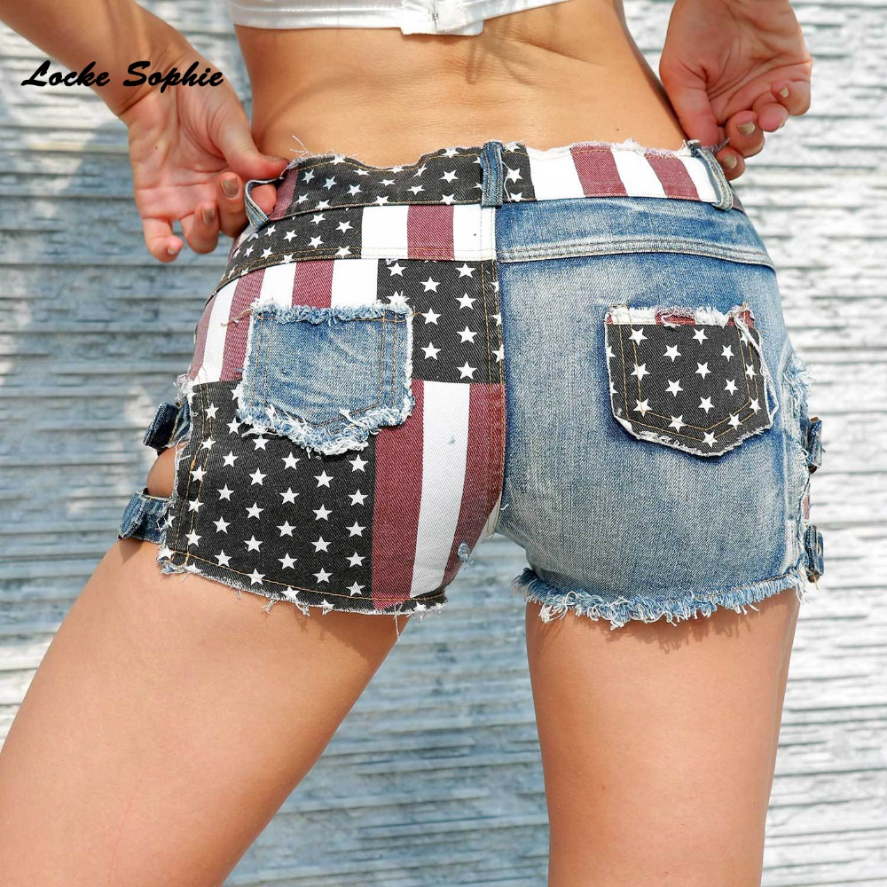 High waist Sexy Womens jeans denim shorts 2019 Summer Fashion Denim National flag prints Ladies Skinny cotton super short jeans