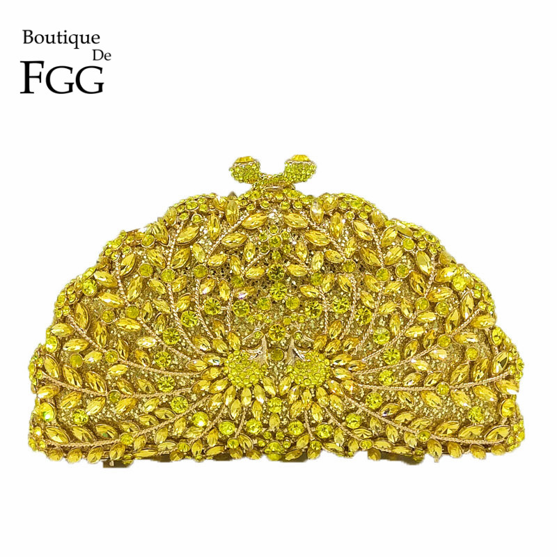 Boutique De FGG Yellow Crystal Peacock Evening Bags Animal Clutch Women Metal Clutches Bridal Wedding Party Handbags And Purses red goldfish crystal clutch evening bags women mini metal hard case wedding clutches party bridal handbags purses
