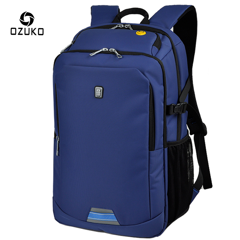 Ozuko Laptop Bag Men's Business Backpacks Large Capacity Mochila Fashion College Casual Travel School Bag Waterproof Fabric