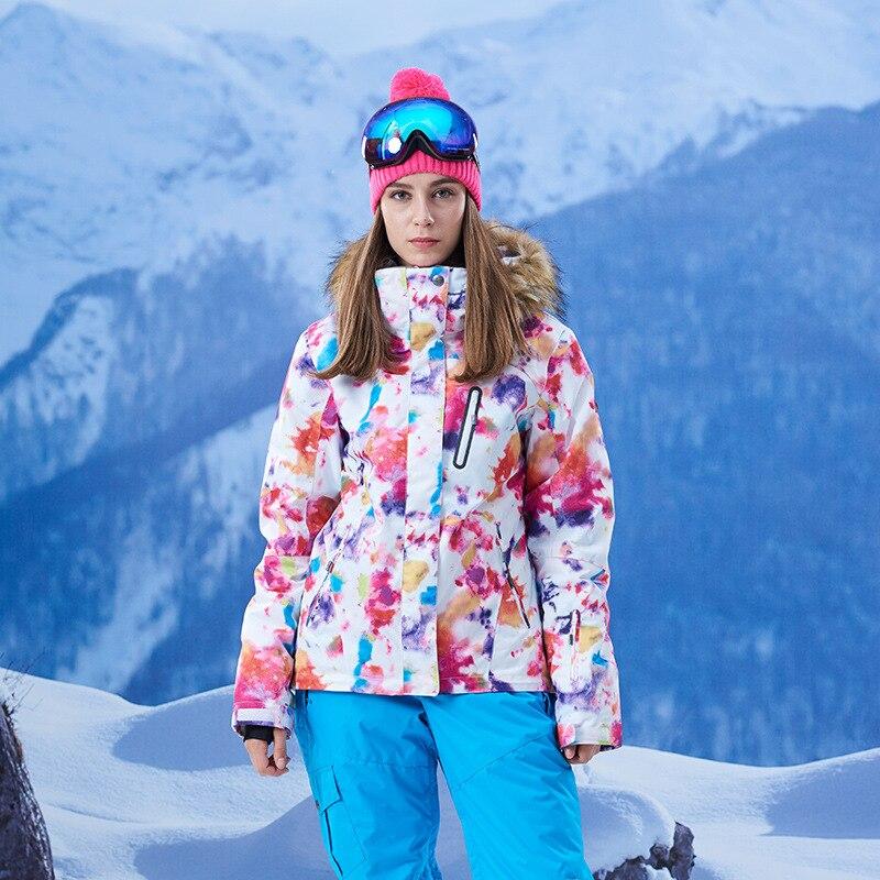 GSOU SNOW combinaison de Ski femme simple Double planche hiver extérieur chaud coupe-vent imperméable veste de Ski pour les femmes taille XS-L - 4