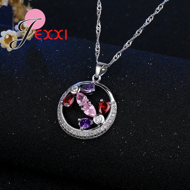JEXXI Luxury Round Shape Fashion Mixed Waterdrop Cubic Zircon Crystal Wedding Engagement Silver Jewelry Bridal Sets For Woman