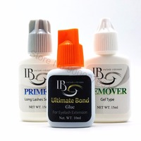 Free Shipping IB 10ml Ultimate Bond Glue primer and remover set for Eyelash Extensions fast dry long holding time Korea glue