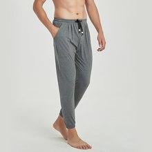 Primavera verão outono fino macio modal algodão lounge calças pijamas dos homens soltos respirável elástico casa sono bottoms