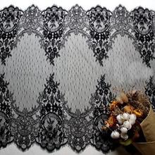 3M / לוט רחב 55cm שחור ולבן ריס תחרה, עבודת יד DIY אביזרי חתונה, בגדים וילון חומר