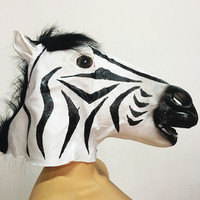 Leiso Brand Fun Costume Halloween Realistic Latex Horse Head Party Mask Handmade DIY Halloween Cute Zebra