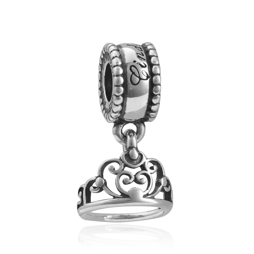 Plata de ley 925 coroa original contas encantos se encaixa jóias dia dos namorados mary poppins bijoux pulseira berloque charme dgb131