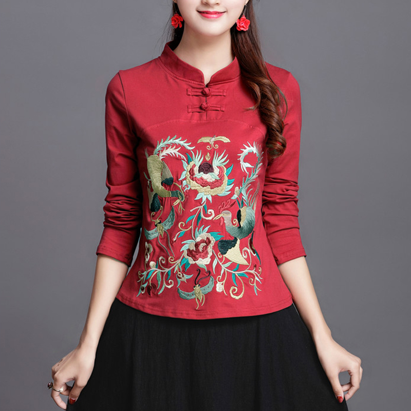 Chinese Ethnic Embroidery Long Sleeve T Shirt Women Elegant Stand Collar Plus Size 95% Cotton Bottoming Tee Shirts Ladies Tops