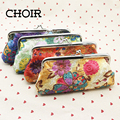 Women Stitchwork Floral Long Coin Purses Holders Small Wallet Girls Change Pocket Pouch Hasp Key Cash Bag Metal Frame Purse