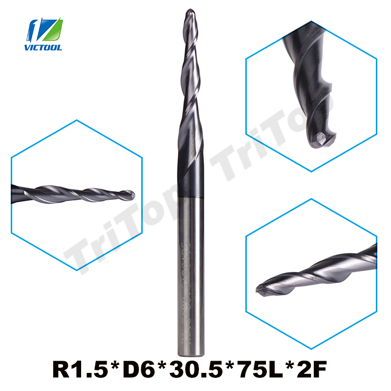 2pcs/lot R1.5*D6*30.5*75L*2F Tungsten Carbide Ball Nose Cone Type Tapered End Mills Cnc Milling Cutter Tools