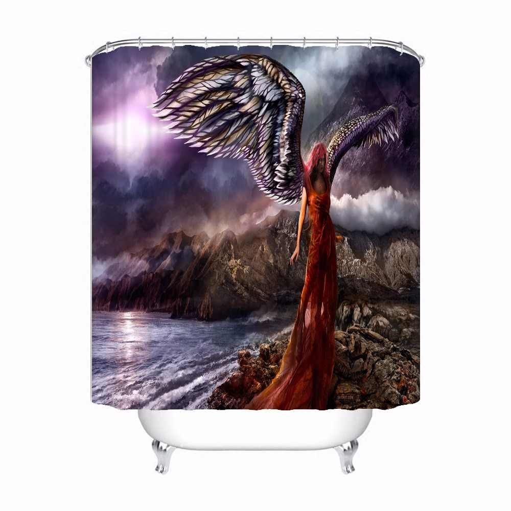 Bath Curtain For Bathroom Custom Beautiful Angel Girl Home Decor Shower Curtain Waterproof Fabric Hooks #180417-02-146