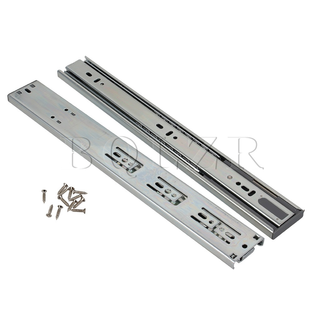BQLZR 2pcs Cold Rolled Steel Drawer Runner Telescopic Drawer Damping Buffer Slide Rail domestic steel luxury damping drawer slides drawer 300mm deep into the low to help