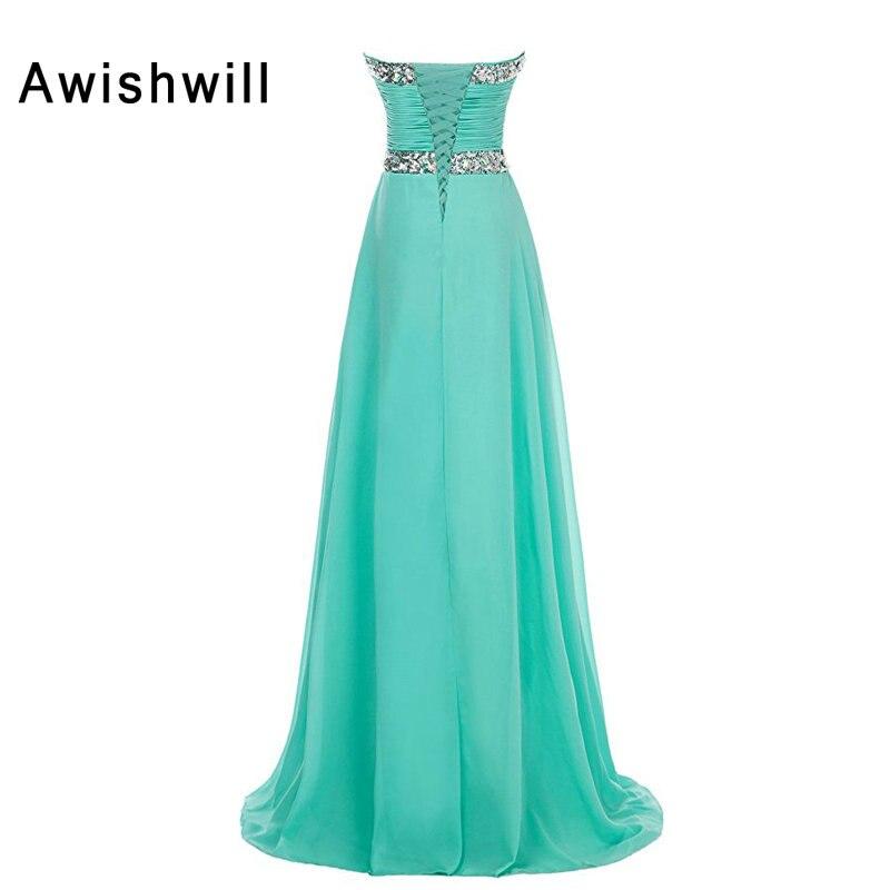 Us 10728 28 Offvestido De Festa Longo Aqua Color Party Dress Long Lace Up Back Floor Length Beadings Chiffon Evening Gowns Prom Dresses 2019 In