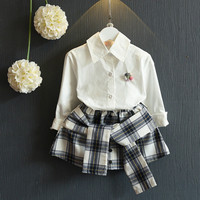 2017 Girls Dress Set Flower Formal Shirt And Plaid Skirt Fashion Tie For Girl Age 2