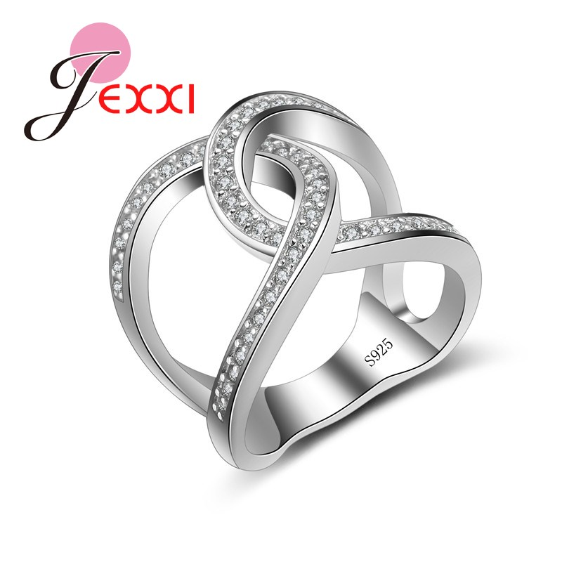 Giemi New Creative Fashion Cross Shape Rhinestone Finger Rings Elegant Jewelry Women Wedding 925 Stamp Sterling Silver Rings