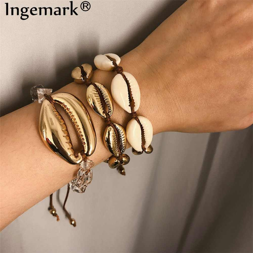 Ingemark Bohemian 3 Pcs/ Set Big Shell Bracelet Bangle Women Accessories Punk Summer Seashell Rope Chain Adjustable Bracelet