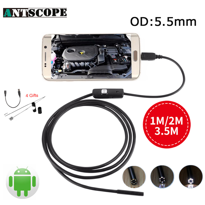 Endoscope 5.5mm Mini USB Android Endoscopio Camera OTG Inspection USB Borescope 1M 2M 3.5M Android Phone PC USB Camera 2018 newest 4 9mm lens medical endoscope camera for otg android phone pc usb borescope inspection otoscope camera for ear nose