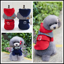 Japanese Style Dog Woolen Cloth Coat Pet Winter Down Clothes Puppy Jumper Hoodie Jacket Chiahuahua Parkas Bule Red Available