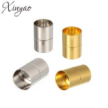 XINYAO 10 pièces Couleur Or Fermoirs Magnétiques Fit 3 4 5 6 7 8 10 12 14 mm Bracelet En Cuir Connecteurs Pour bijoux à bricoler soi-même De F773