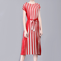 new European summer fold double color vertical striped dress female color pleated dresses free shipping