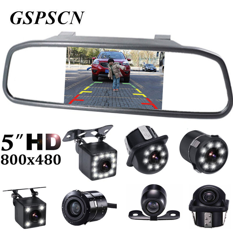2-in-1 Universal TFT Rearview 5 Inch Mirror Monitor With Car Rear View Camera Parking Night Vision Car Reversing Backup Camera