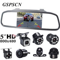 GSPSCN 5 Inch Car Rearview Mirror Monitor Auto Parking HD Vedio LED Night Vision Reverse Camera