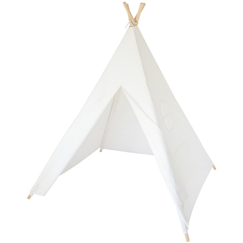 Four Wooden Poles Children Teepees Kids Indian Tent Cotton Canvas Teepee White Playhouse for Baby Room Tipi children tipi canvas cotton indian tent kids play house teepee baby game room playhouse boys and girls teepees toy tent page 6
