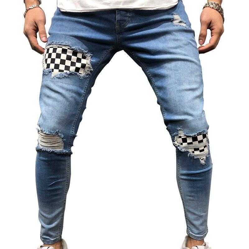 Men Ripped Skinny Biker Hole Jeans Destroyed Frayed Slim Fit Denim Long Pants Stretch Pants  TH36