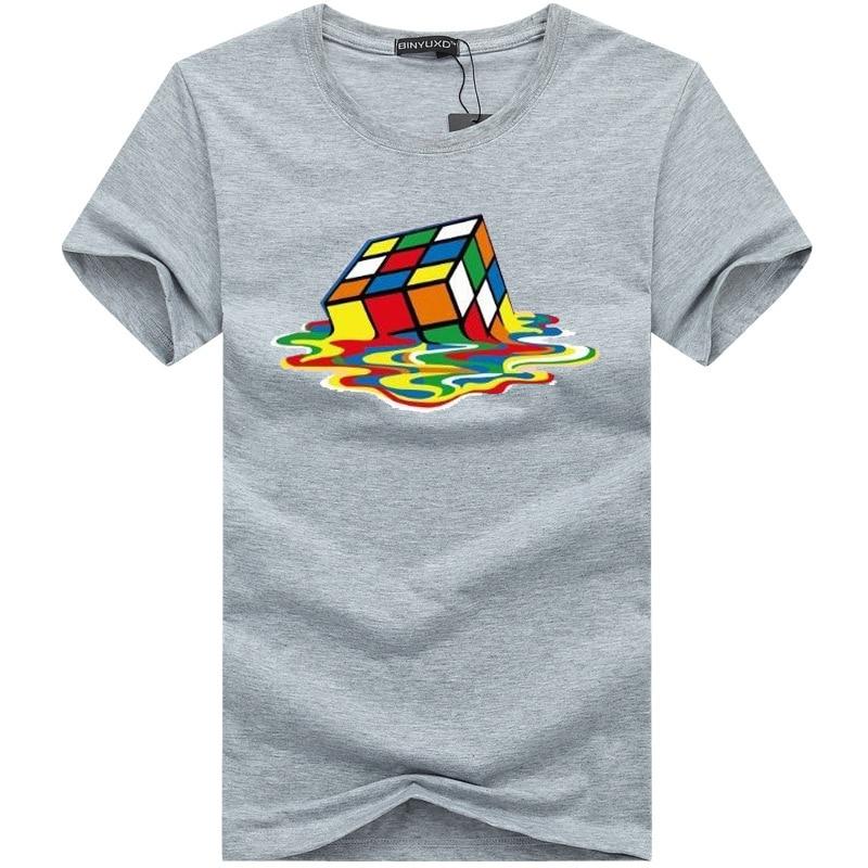 Tops & Tees T-shirts 2018 Summer Men T-shirts The Big Bang Theory Printed Stylish Design Rubik Cube T Shirts Funny Cotton Short Sleeve Tees