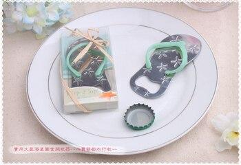 100 pcs Flip flop wine bottle opener with starfish design wedding favor guest gift Wedding giveaways decoration blue