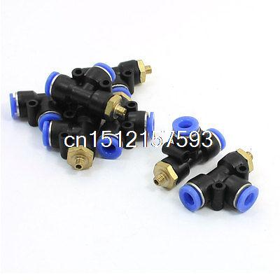 7pcs 1/16PT Male Thread to 6mm Tube 3 Way T Shape Quick Coupler Joint tube size 14mm 1 4 pt thread pneumatic