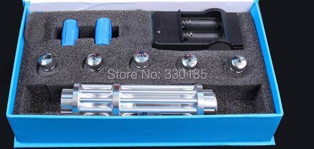 AAA NEW high power blue laser pointers 200w 200000mw 450nm burning match/dry wood/candle/black/cigarettes+5 caps+changer+box
