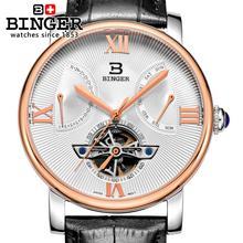 Switzerland men's watch luxury brand Wristwatches BINGER Mechanical clock Diver waterproof leather strap watch BG-0408-5