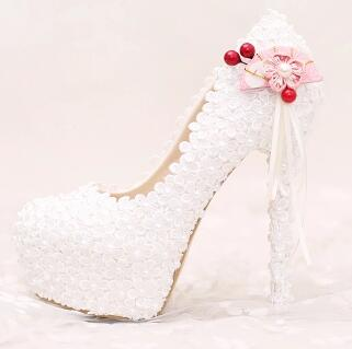 ФОТО Wedding shoes platform white lace flowers womens ladies wedding party shoes extra high heels round toes TG627 female party shoe