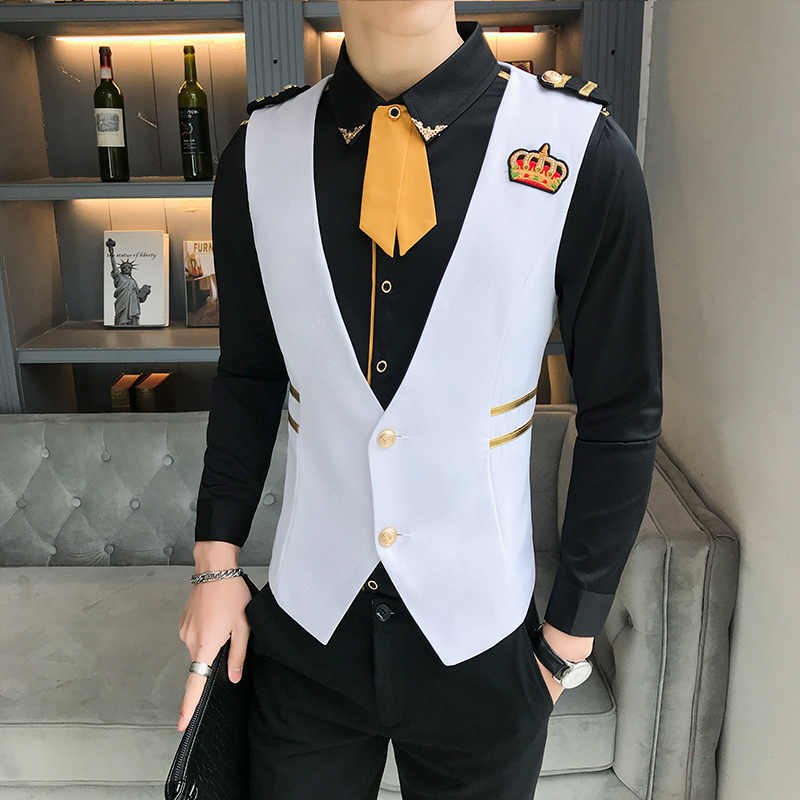 Men's Vest Small Crown Embroidery Man Fashion Slim Fit Vest Nightclub Hairstyle Division Vest Man New Arrival Chaleco Hombre