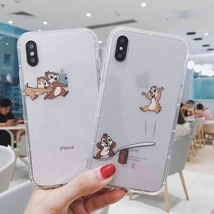 Cartoon Chip Dale squirrel Transparent interesting phone case cover for iphone 7 8 6 s plus X XS Max Xr Coque Fundas(China)
