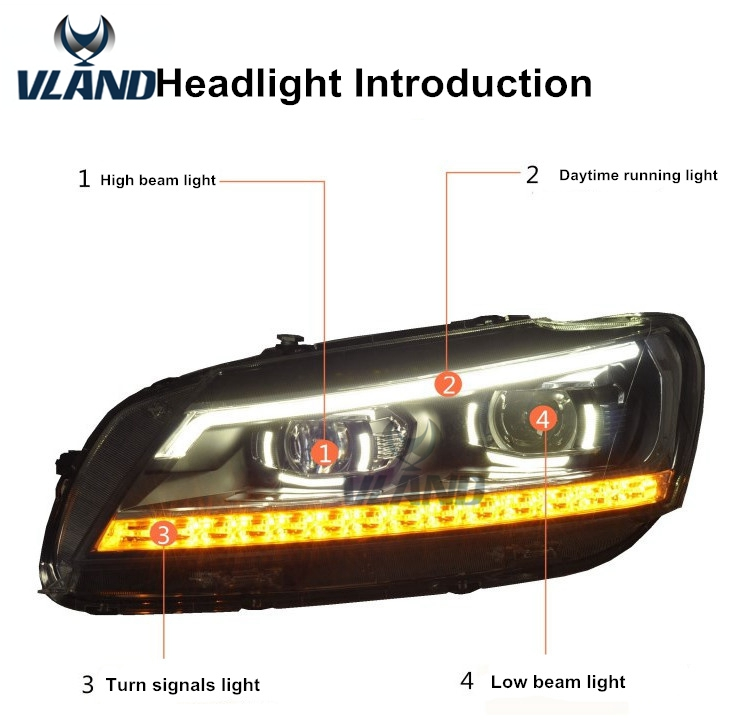 Free shipping for car head lamp for VW Passat B7 2012 2015 headlight LED angle eyes H7 D2H xenon lamp free shipping 55w xenon hid kit lamp aluminum shell ballast 3000k 15000k dc car head light headlight for vw passat 2002 2010