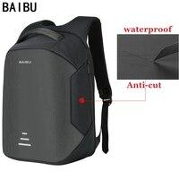 Новый мужской рюкзак от BAIBU для ноутбука 15,6 дюймов, рюкзак-антивор с функцией подзарядки через USB, женская школьная сумка для ноутбука, водон...