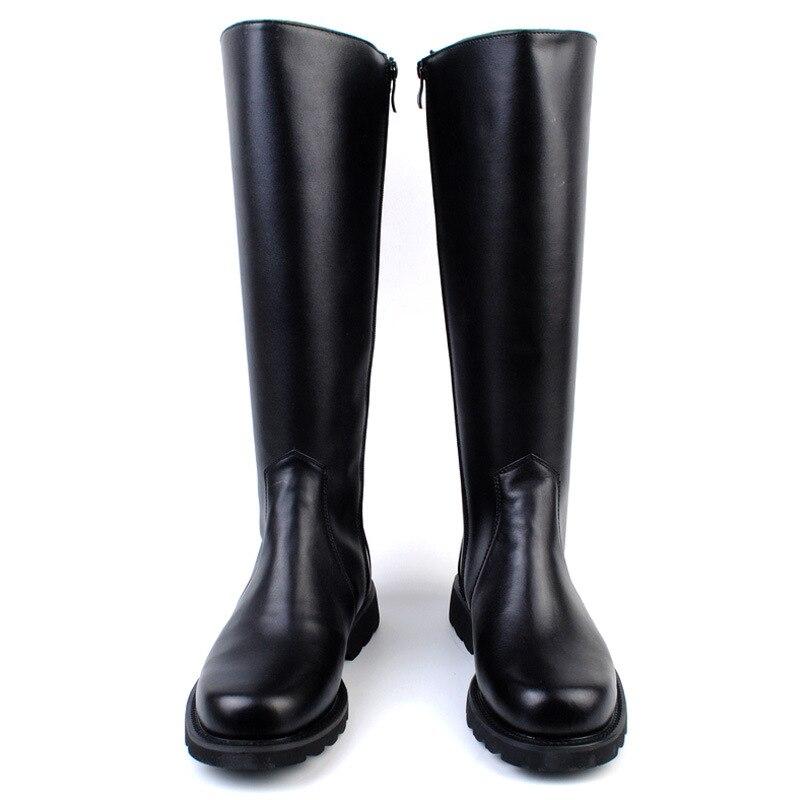 2019 mode genou haute bottes militaires pour hommes en cuir véritable longues bottes d'équitation chevalier en cuir bottes homme chaussures grande taille 36-46