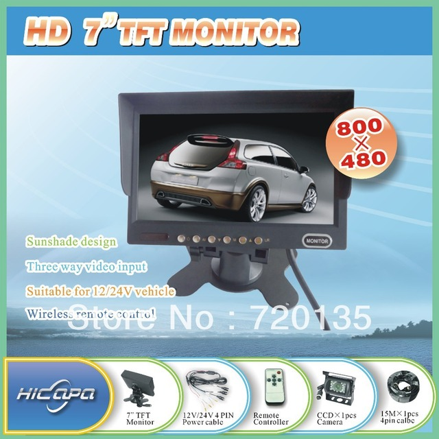 Car/Truck 7 inch TFT HD  rearview monitor with 1pcs CCD camera free shipping  BY-08977M-S1