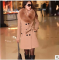 Women Faux Fur Collar Woolen Coat 2016 Winter Plus Size Double Breasted Casual Casaco Feminino Warm Outerwear Jacket Belt ZL3465