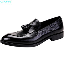 New Italian Brand Slip On Men Shoe Business Oxford Genuine Leather Shoes High Quality Cow Leather Tassel Brogues Shoes italian shoe with matching bag new arrival design matching italian shoe and bag set with stones high quality woman shoes ja10 4
