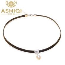 ASHIQI Natürlichen süßwasser-perle Halsband Halskette 34 cm + 6 cm Hohe qualität 925 Solide silber Seil Kette für frauen