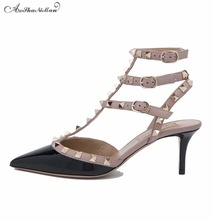 Весна лето марка дизайн женщины патент натуральной кожи на низком каблуке Сексуальные острым носом Заклепки насосы женщина партия ремень обуви 34-42