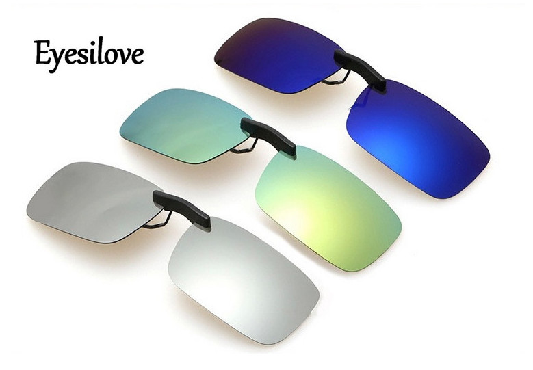 Eyesilove Night Vision Women Men Clip On Sunglasses mirror coating Polarized Sun Glasses Yellow Driving Glasses Gafas De Sol