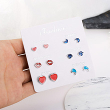 6 Pairs/set vintage geometric stud earrings set for women Stars Heart Crytal Shape Design Cute Earrings Girls Daily Life Jewelry
