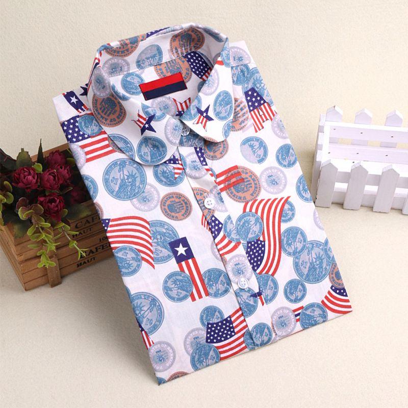 12 Patterns Button Down Floral Flannel Casual Lapel Lady font b Shirt b font Tops font